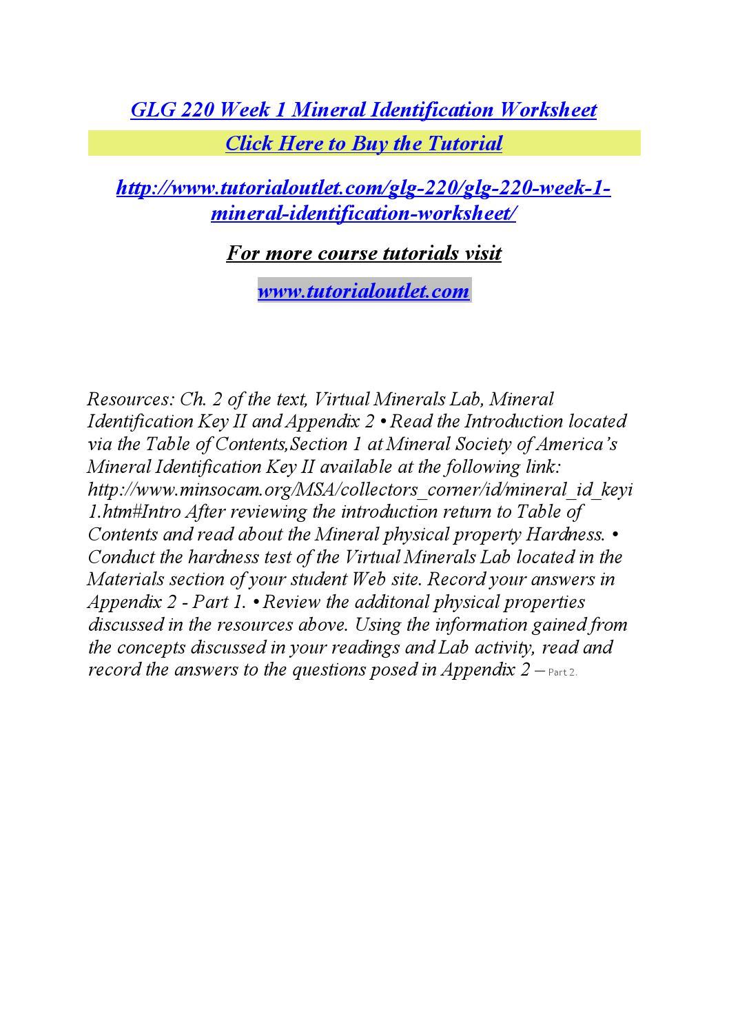 Glg 220 week 1 mineral identification worksheet by Stella4 issuu