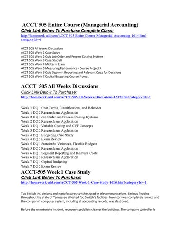 accounting 505 week 2 quiz job order and process costing systems View homework help - week 2 discussion a from acct 505 at devry university,  keller graduate school of management job order and.