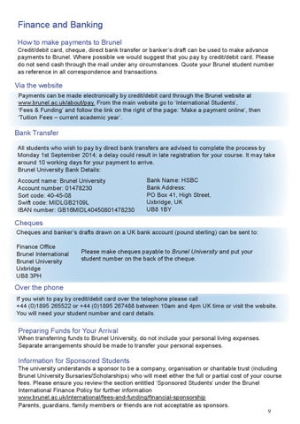 Brunel International Pre-Arrival Guide by Brunel University