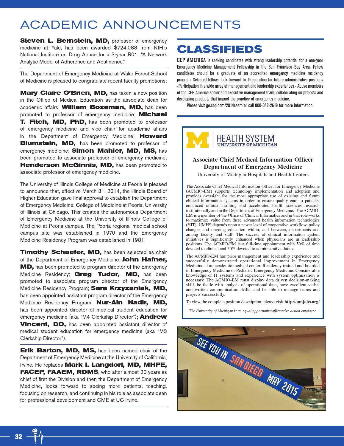 July-August 2014 SAEM Newsletter by Society for Academic