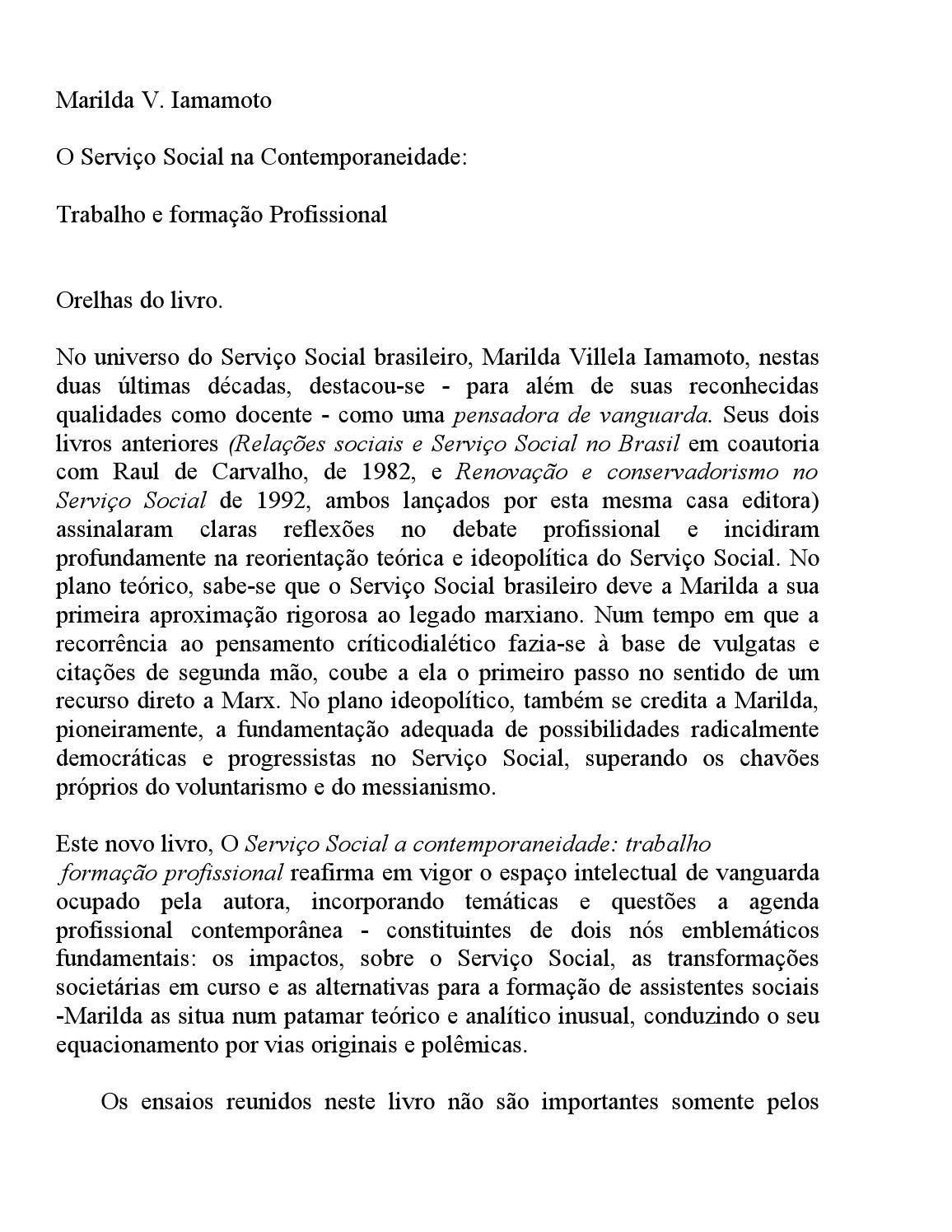 Tag Fichamento Do Livro O Serviço Social Na Contemporaneidade Iamamoto