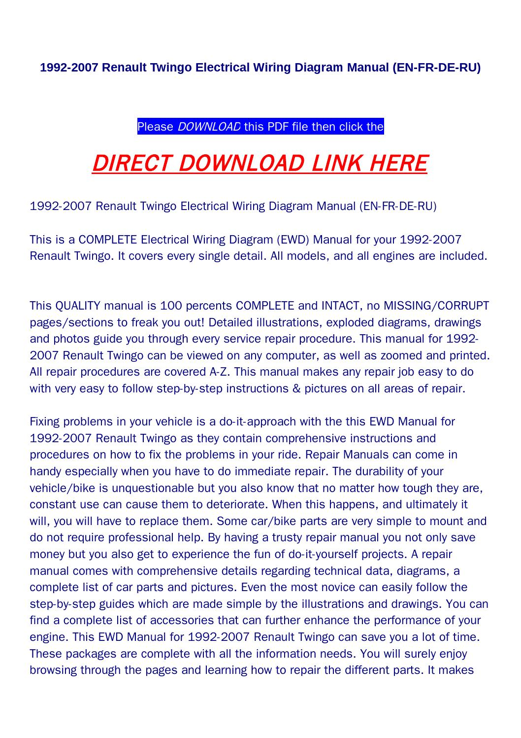 1992 2007 Renault Twingo Electrical Wiring Diagram Manual