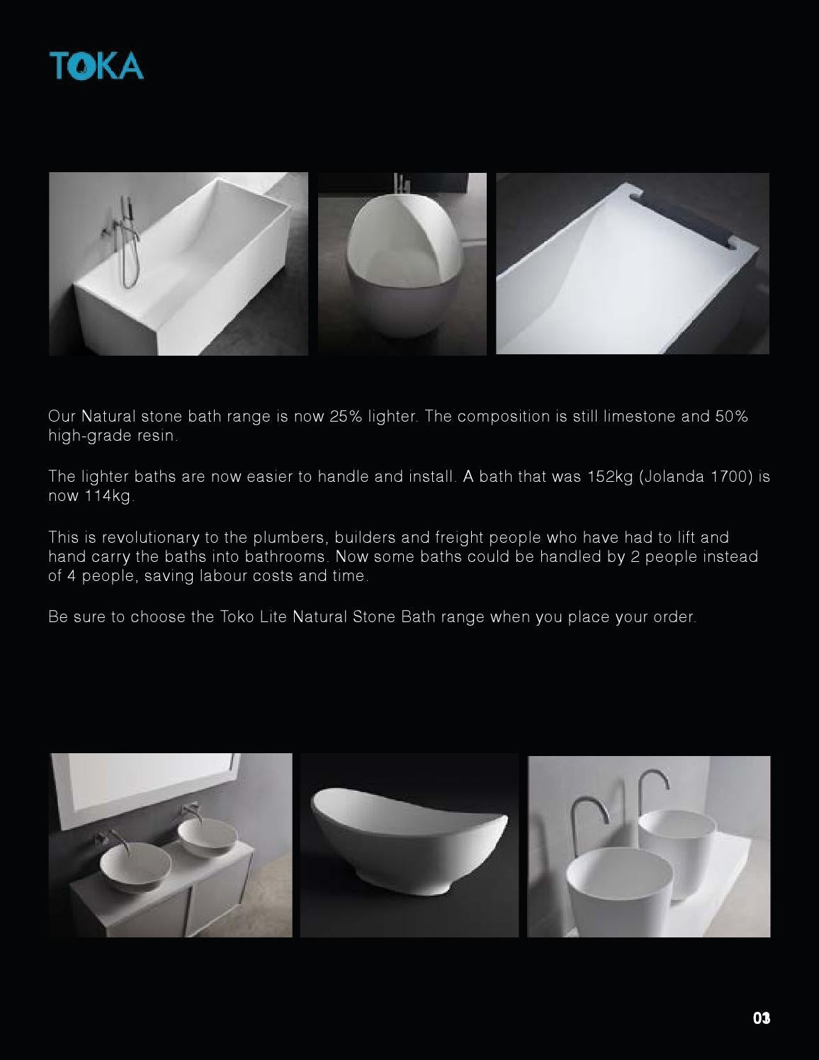 Toka Natural Light Weight Stone Bath Range By IStudios Multimedia - Bathroom labour costs