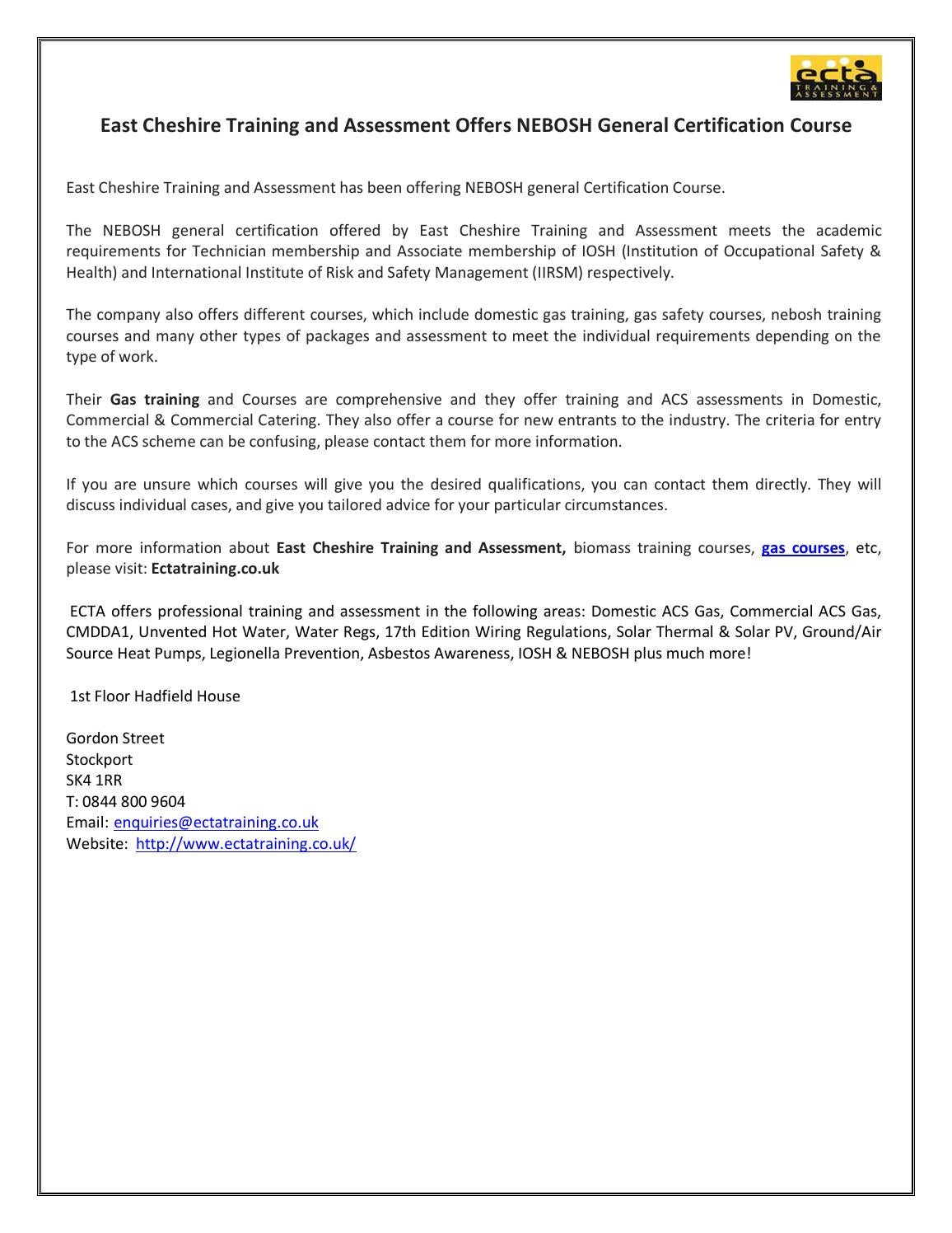 East Cheshire Training And Assessment Offers Nebosh General House Wiring Qualifications Certification Course By Ecta Issuu