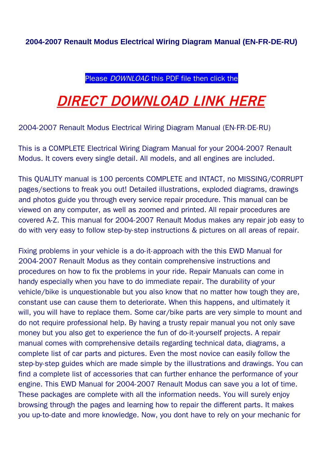 2004 2007 Renault Modus Electrical Wiring Diagram Manual