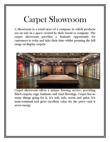 Carpet Showroom A Is Retail Of Company In Which Products Are On E Created By Their Brand Or