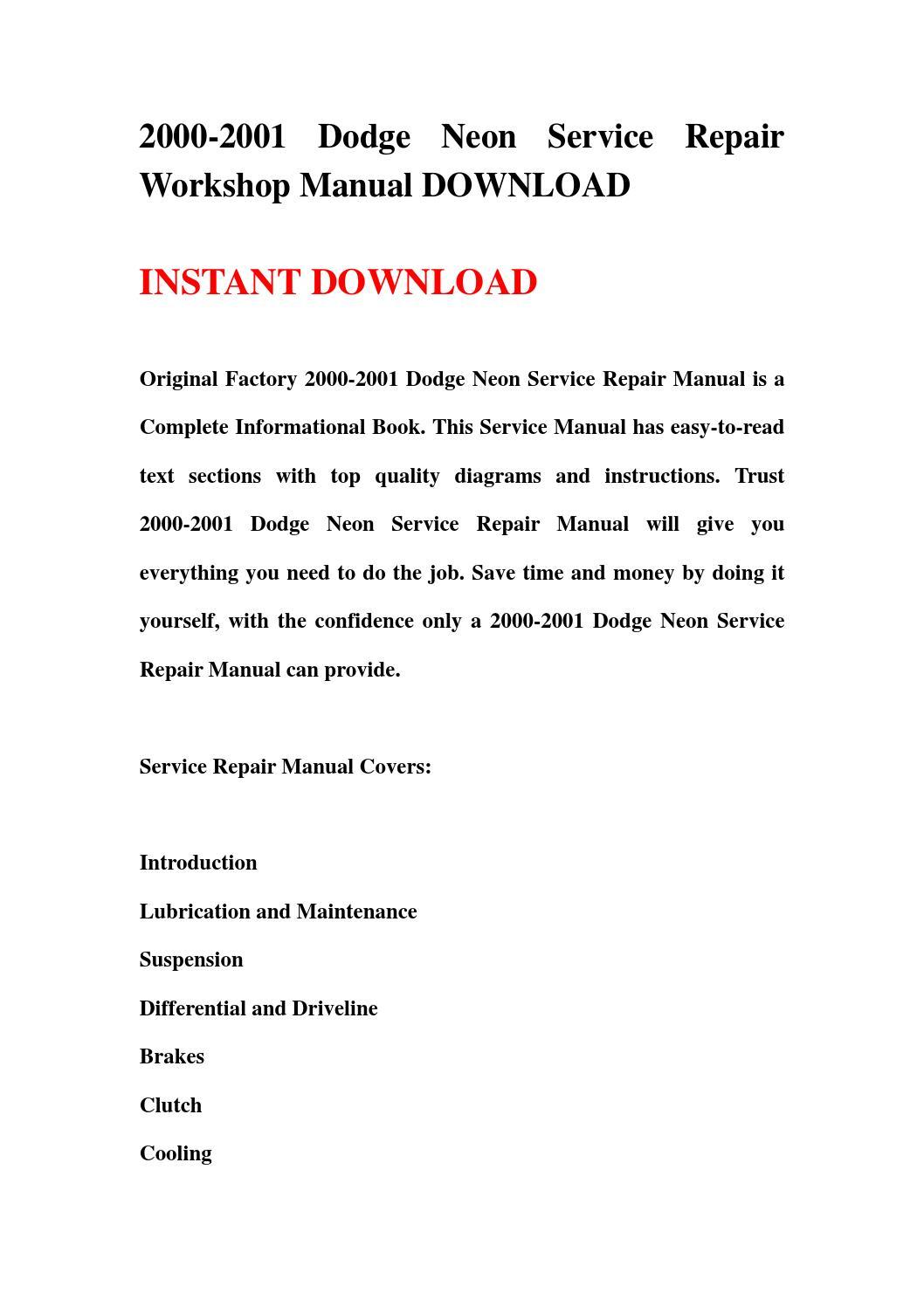2000 2001 Dodge Neon Service Repair Workshop Manual