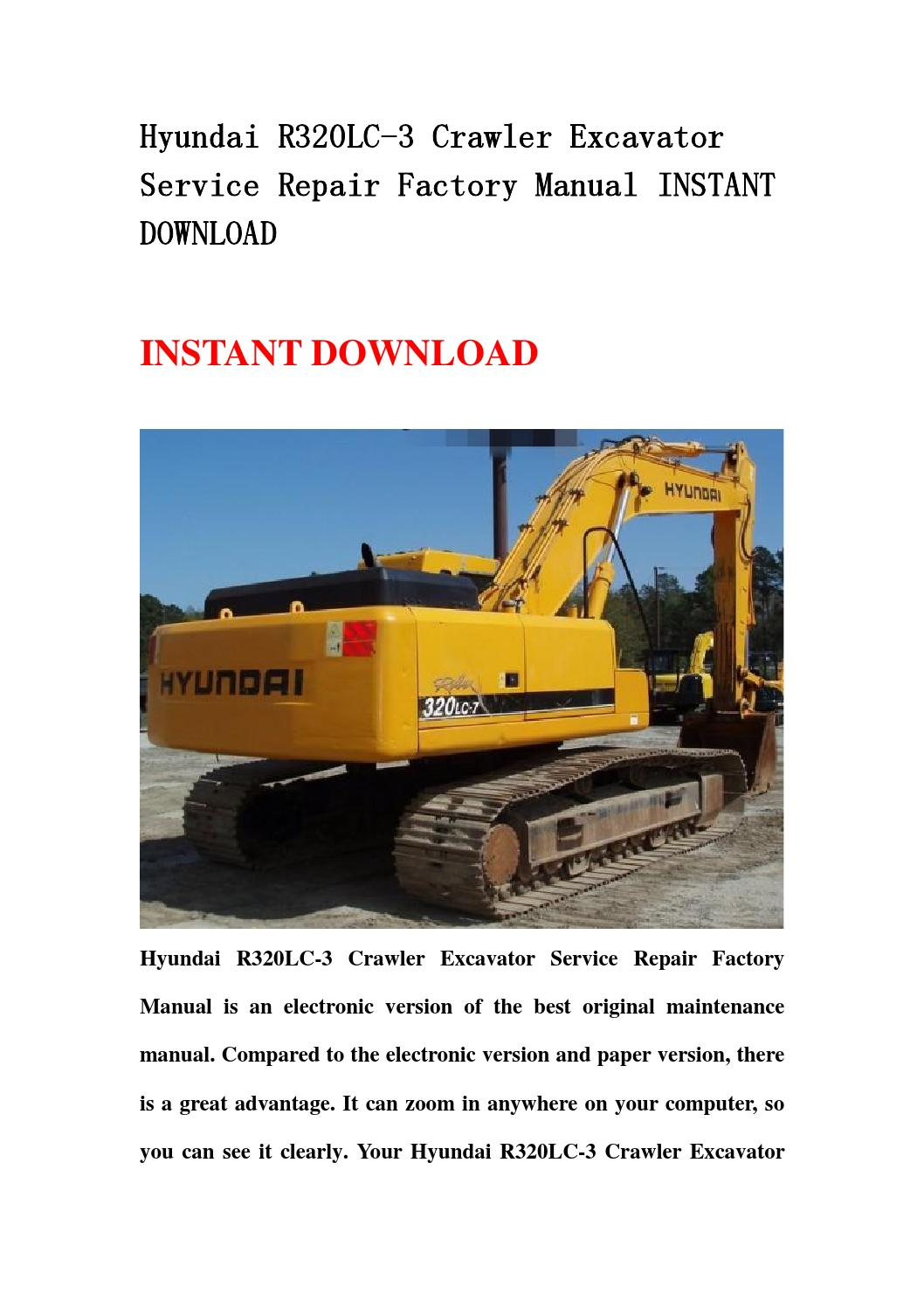 hyundai r320lc 3 crawler excavator service repair factory