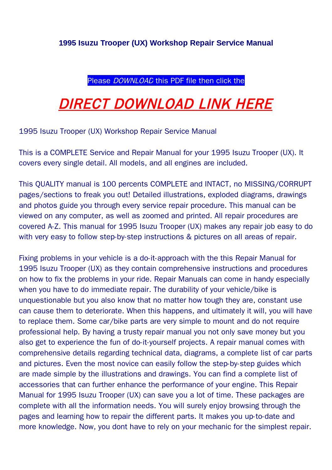 Isuzu trooper 1995 Manual pdf