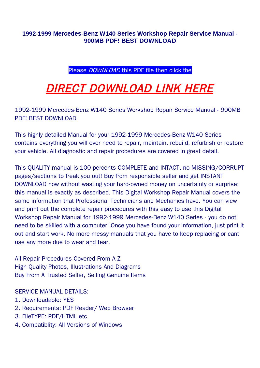 1992 1999 mercedes benz w140 series workshop repair service manual 900mb  pdf! best download by huou - issuu