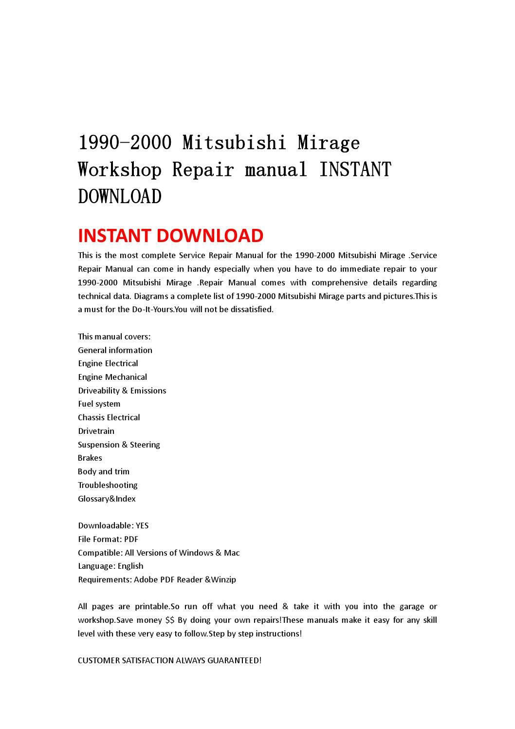 1990 2000 mitsubishi mirage workshop repair manual instant. Black Bedroom Furniture Sets. Home Design Ideas