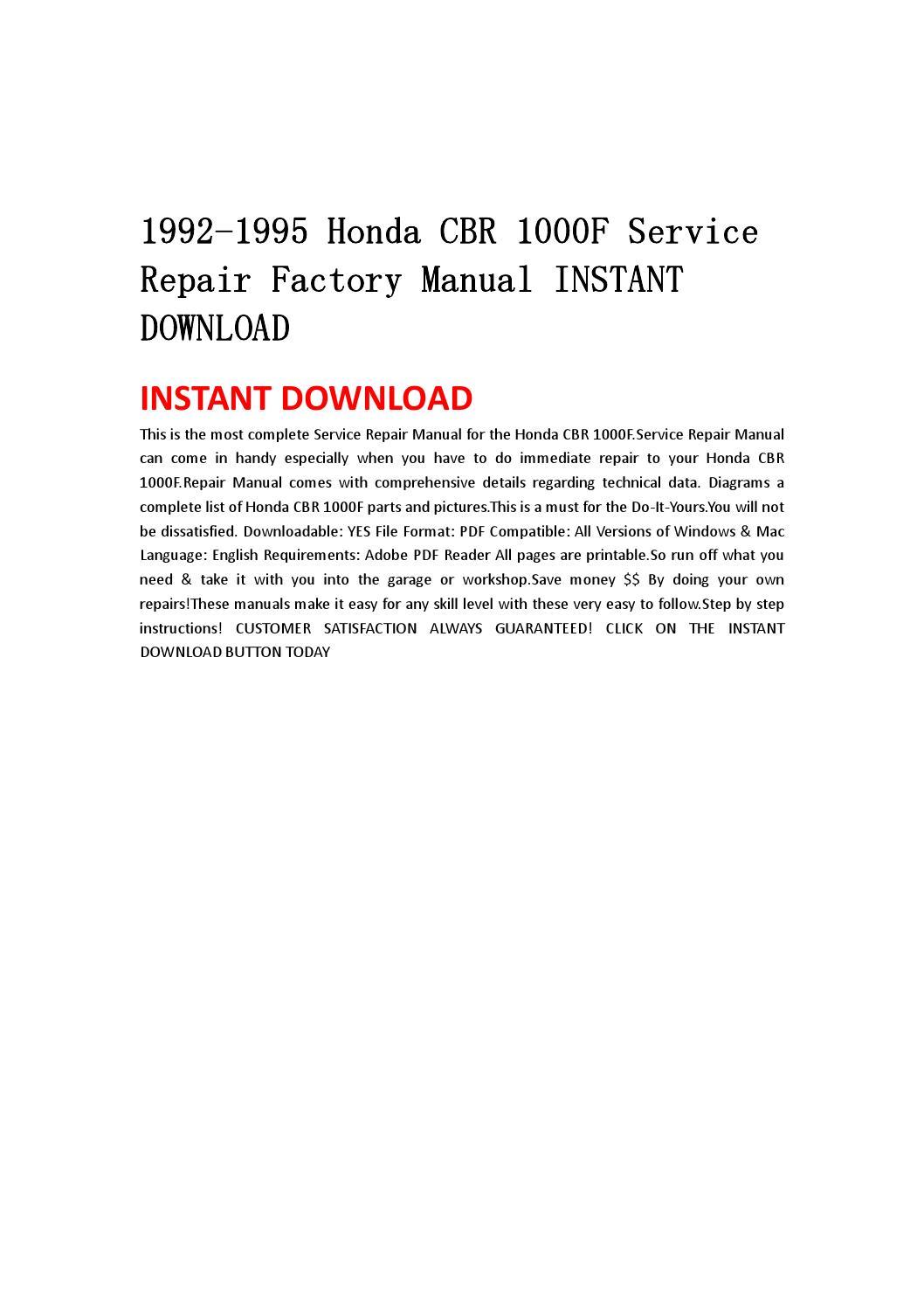 1992 1995 honda cbr 1000f service repair factory manual. Black Bedroom Furniture Sets. Home Design Ideas