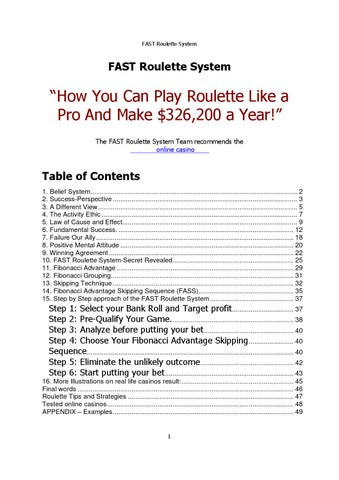 Fast Roulette System