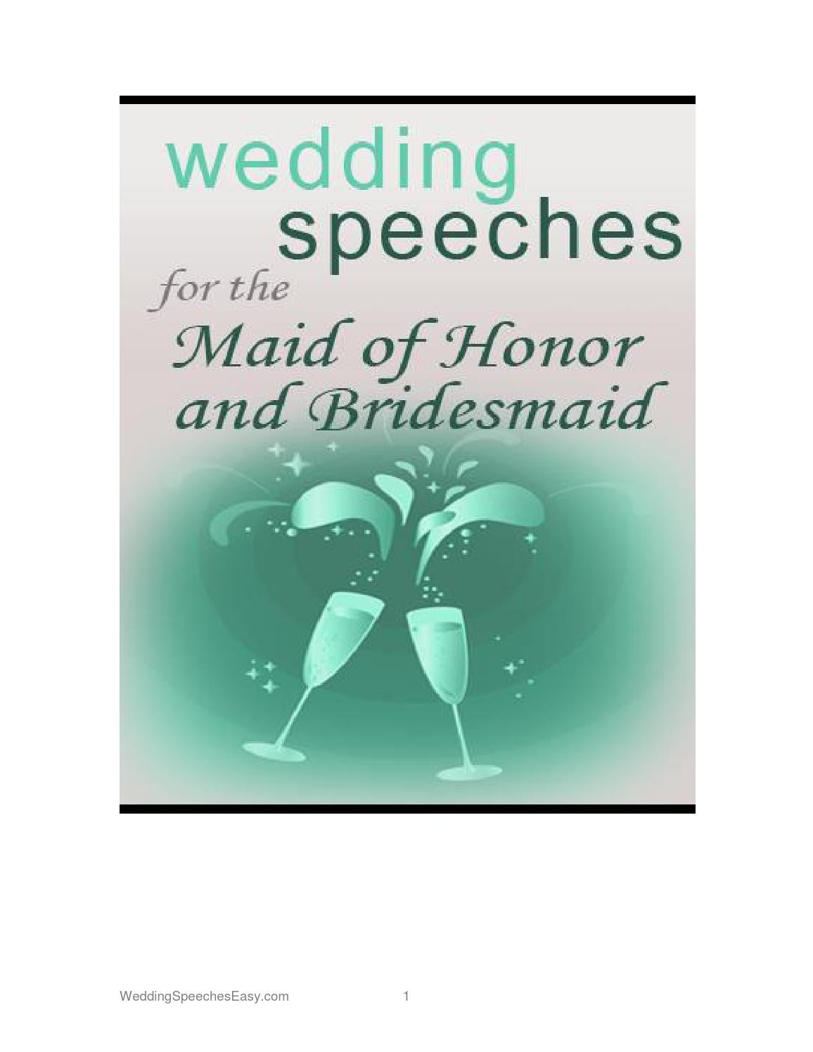 Wedding Speeches For The Maid Of Honor And Bridesmaids By EbooksforLife