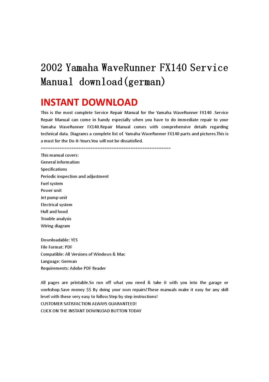 2002 Yamaha Waverunner Fx140 Service Manual Download