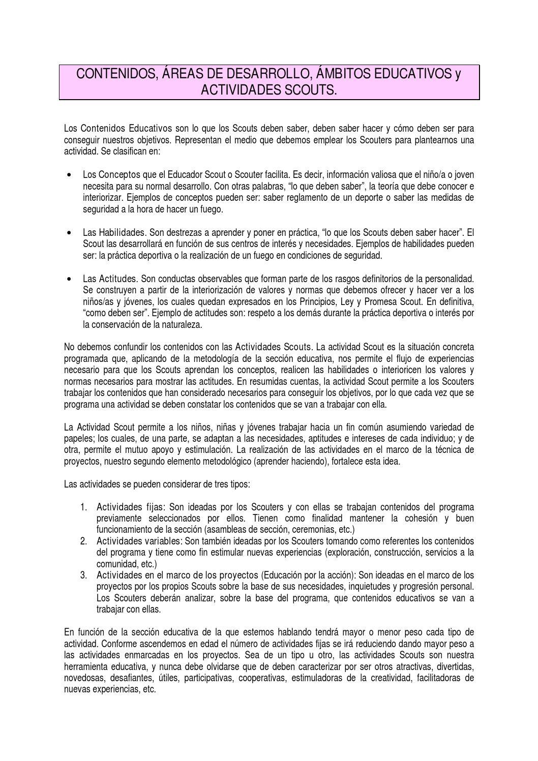 Documento Ámbitos educativos by Scouts de España - issuu