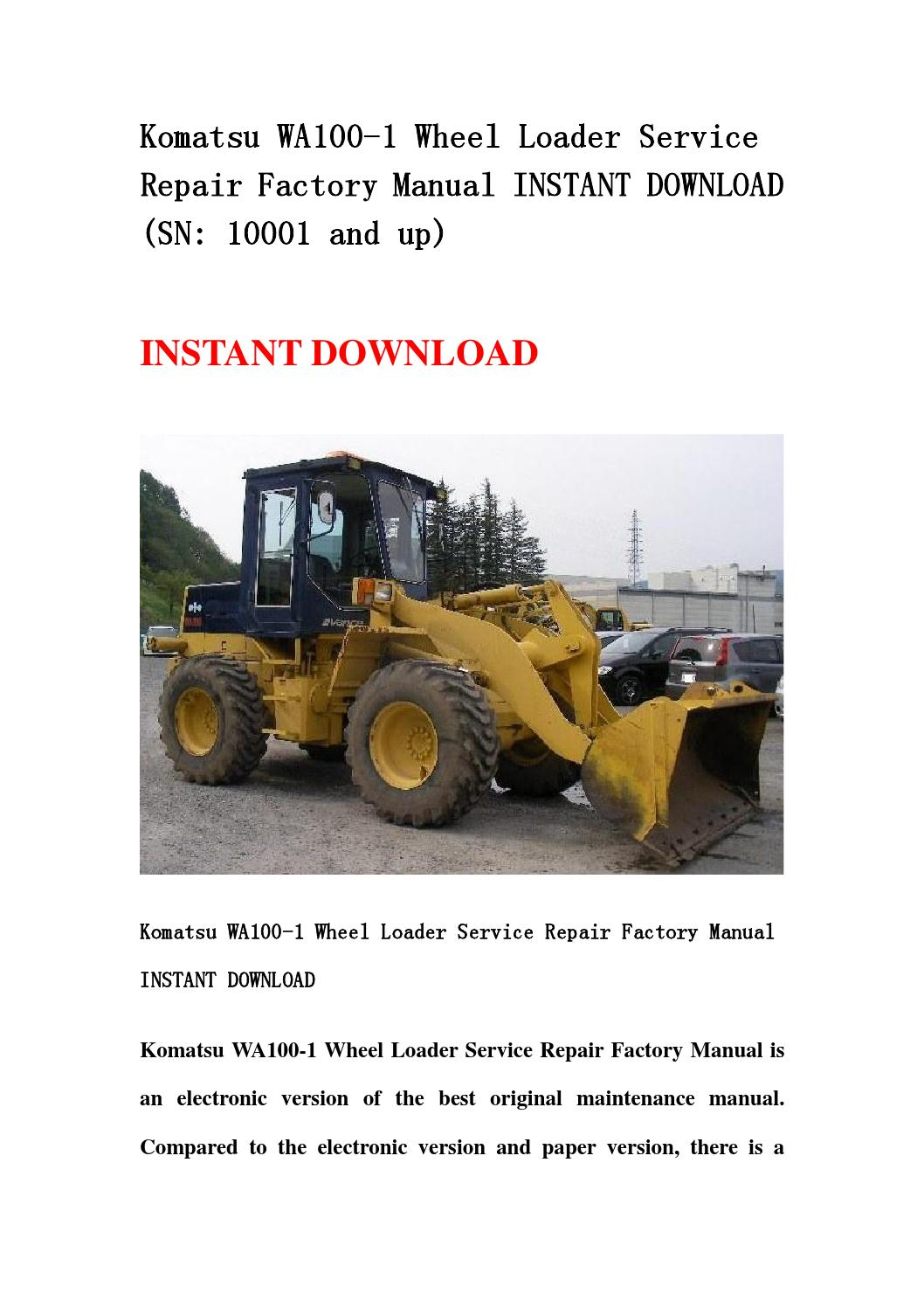 komatsu wa100 1 wheel loader service repair factory manual. Black Bedroom Furniture Sets. Home Design Ideas