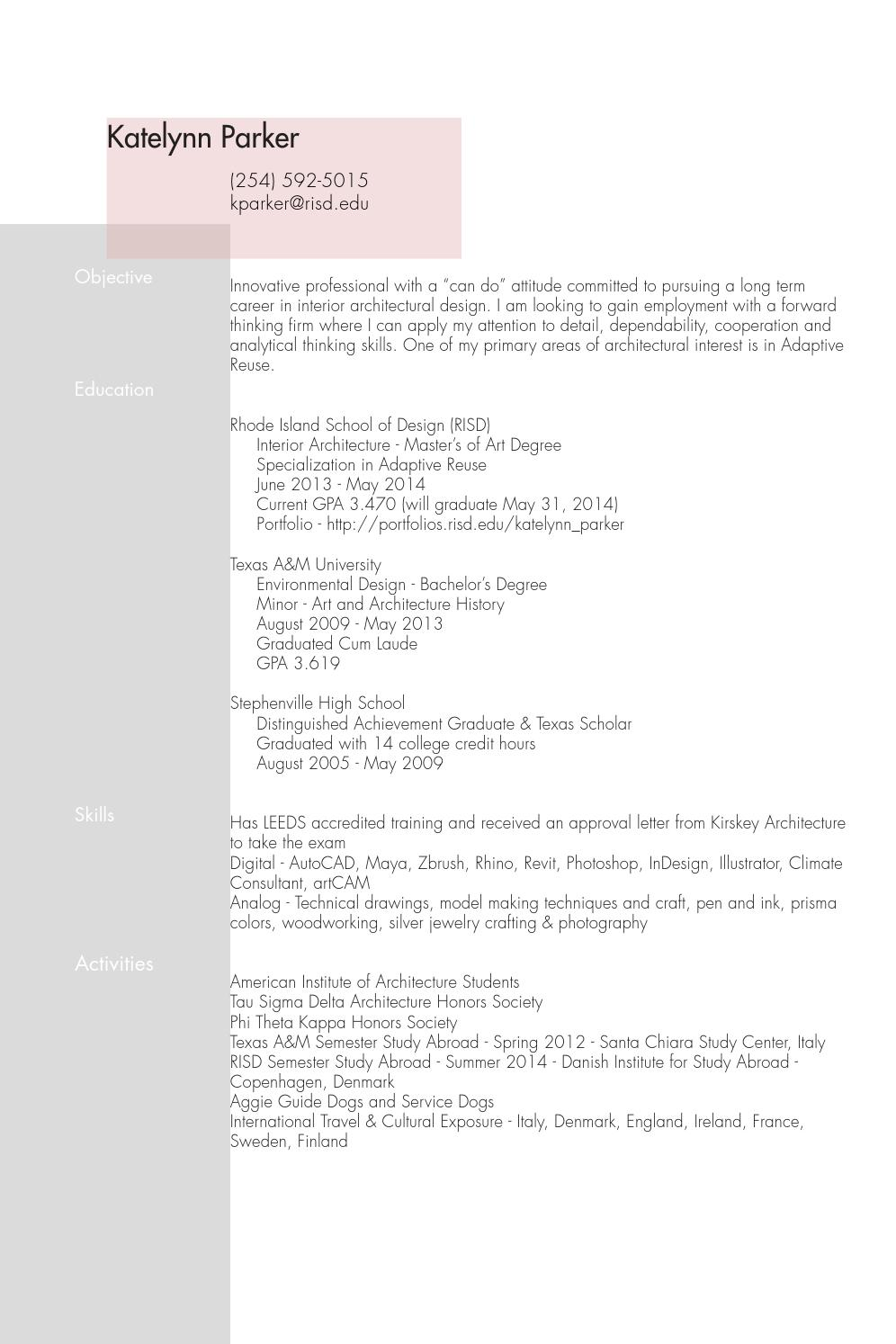 Resume by katelynn parker issuu - How long does it take to become an interior designer ...