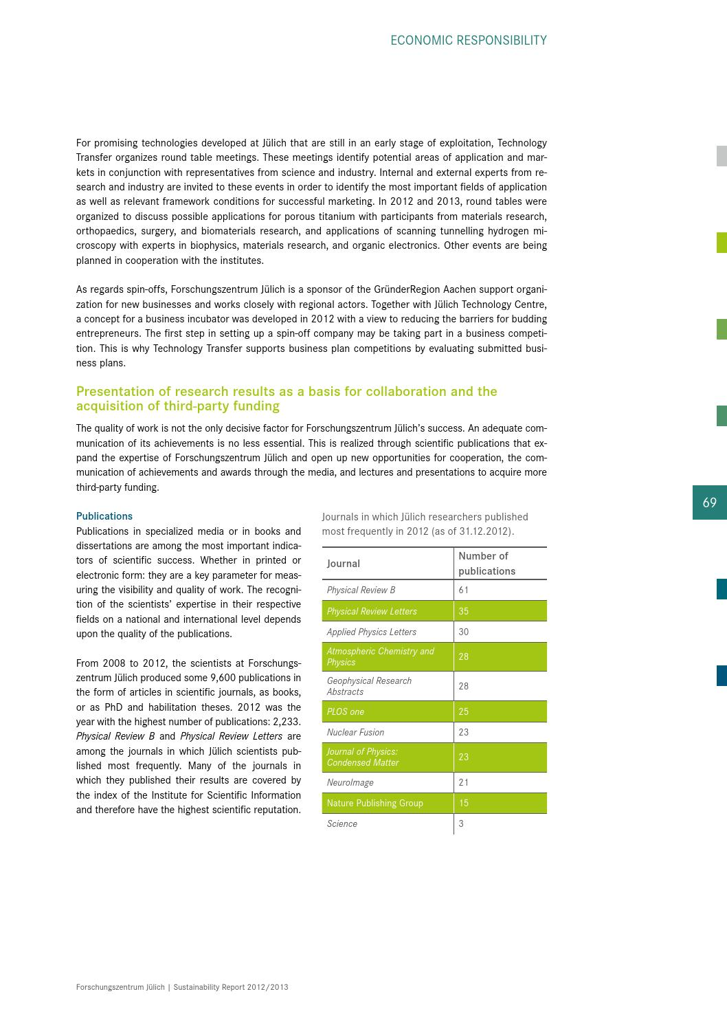 Sustainability Report 2012/2013 by Forschungszentrum Jülich