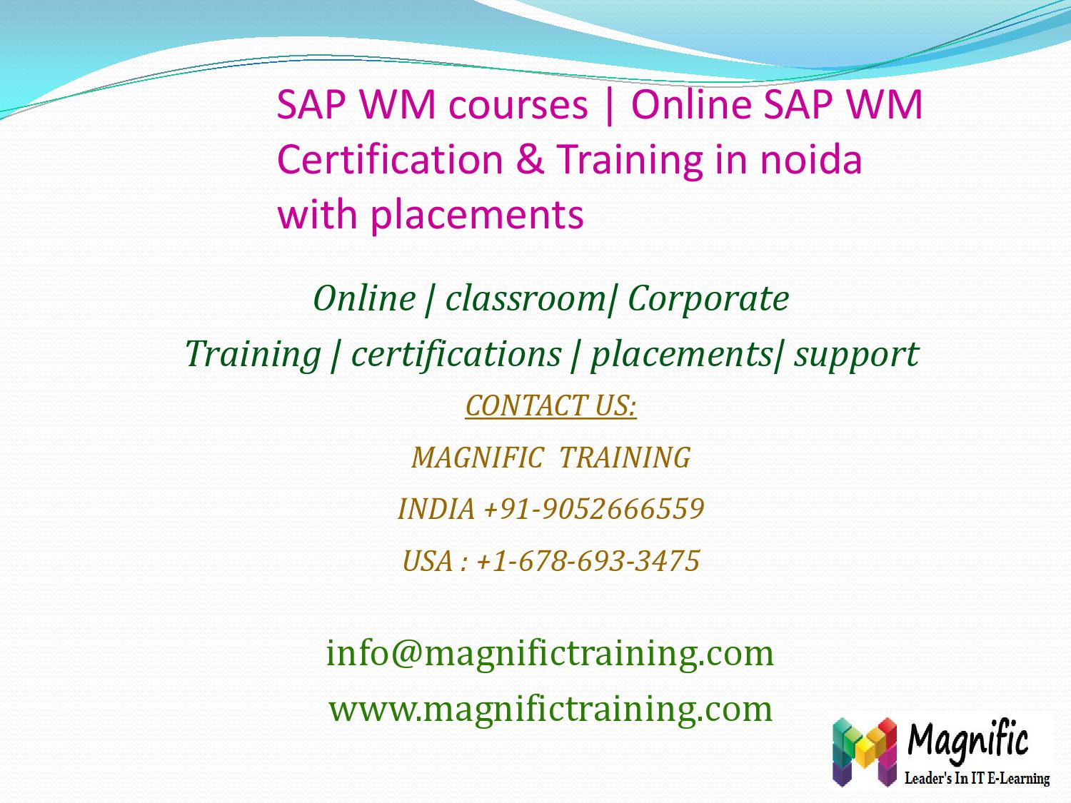 Sap Wm Courses Online Sap Wm Certification Training In Noida With