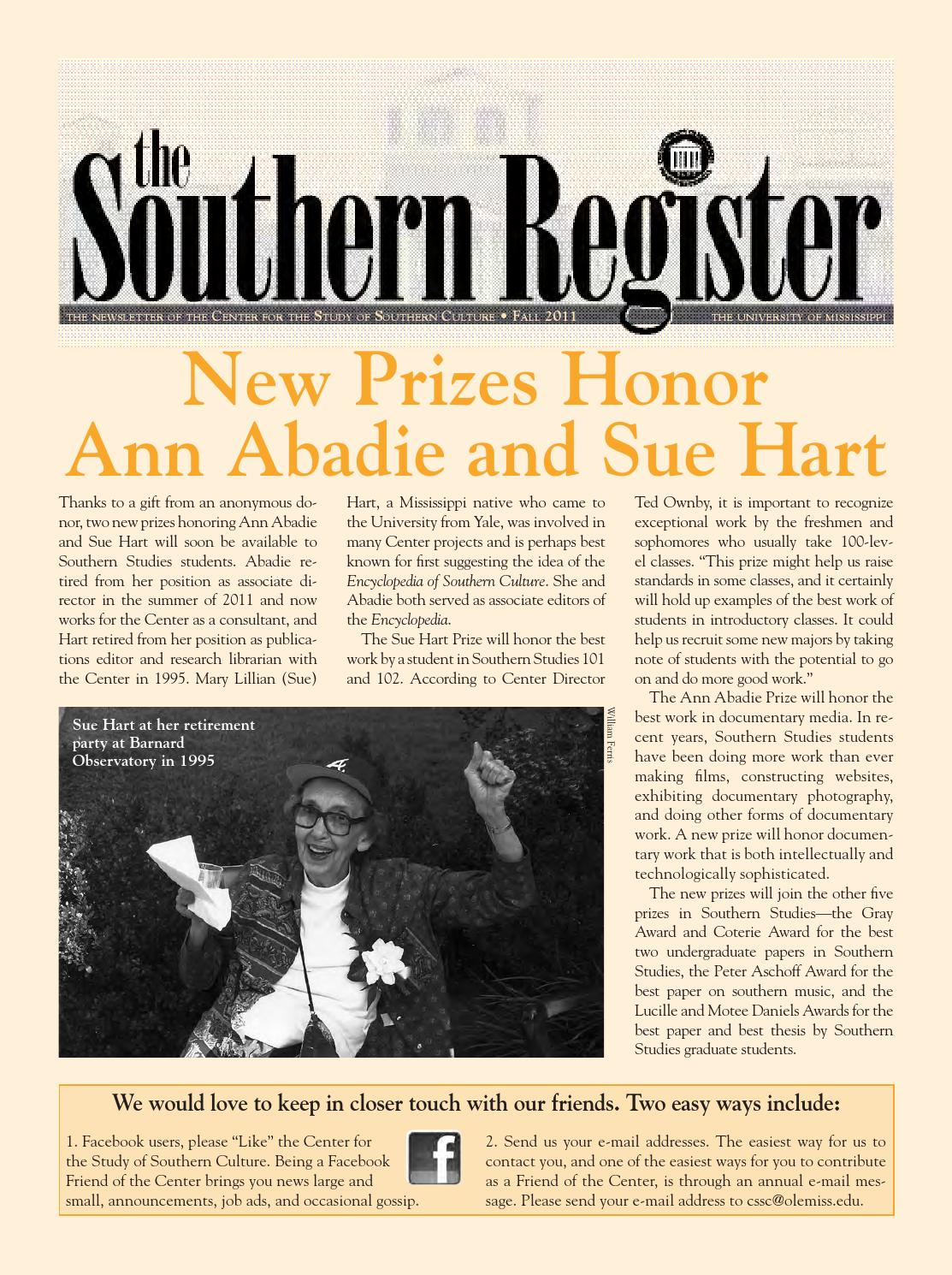 Southern Register Fall 2011 by Southern Studies - issuu