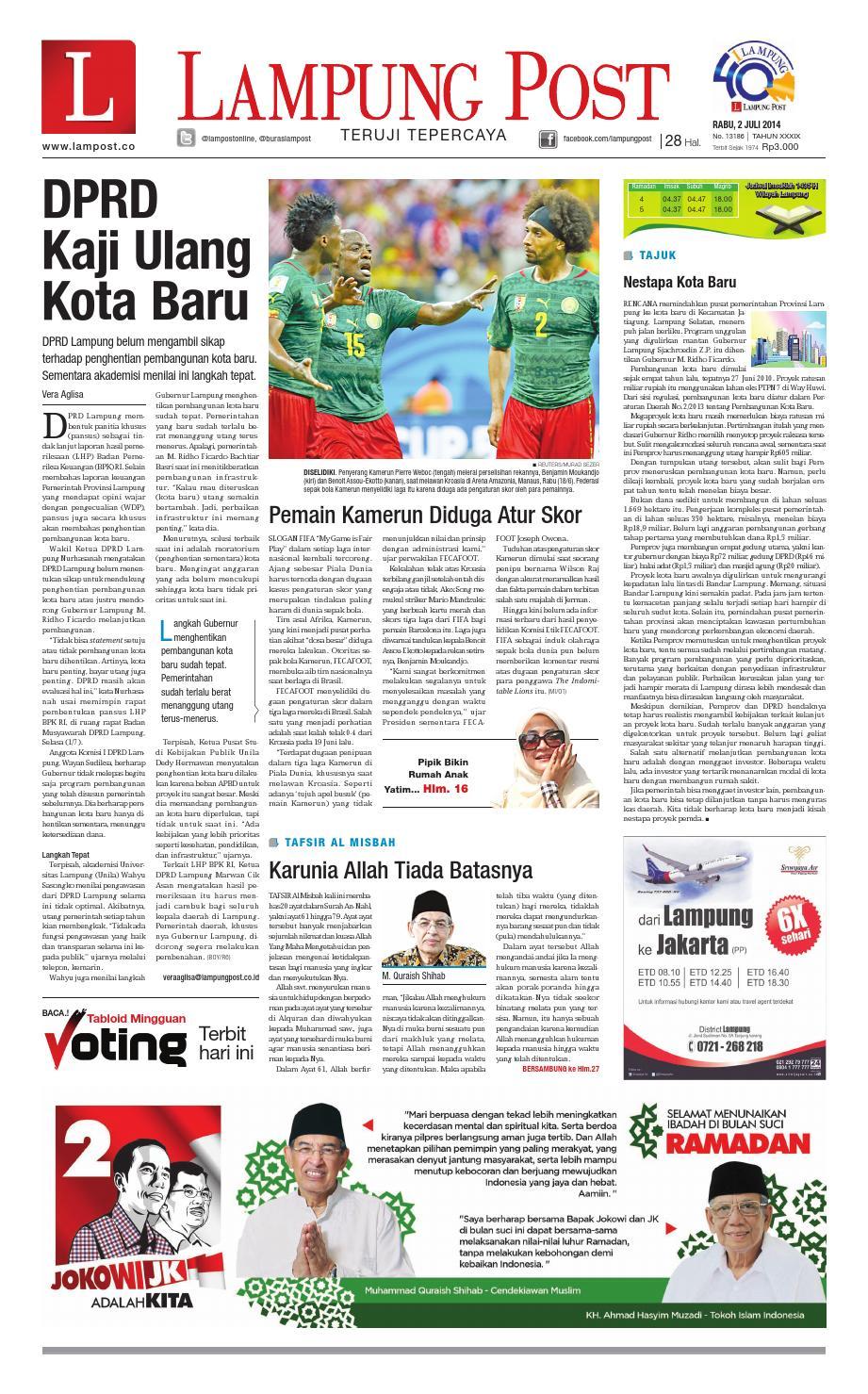 Lampung Post Rabu 2 Juli 2014 By Issuu Produk Ukm Bumn Pusaka Coffee 15 Pcs Kopi Herbal Nusantara Free Ongkir Depok Ampamp Jakarta