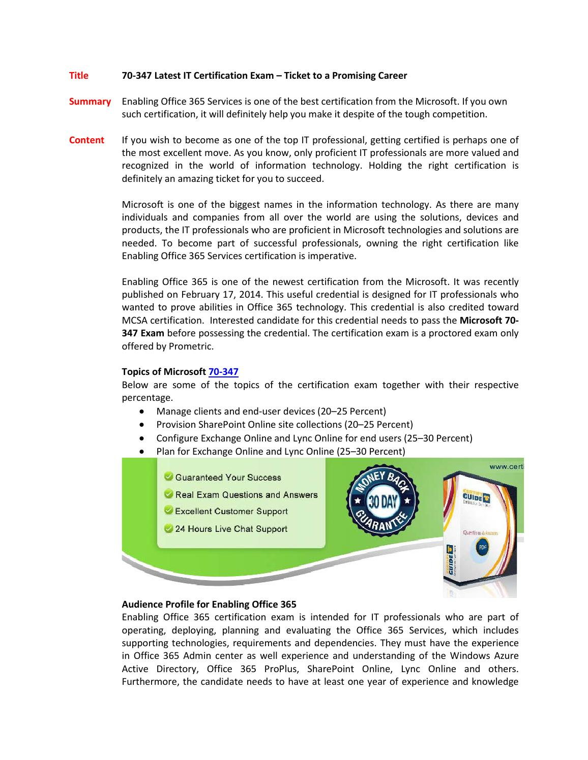 70 347 Enabling Office 365 Services By Certifyguide2 Issuu