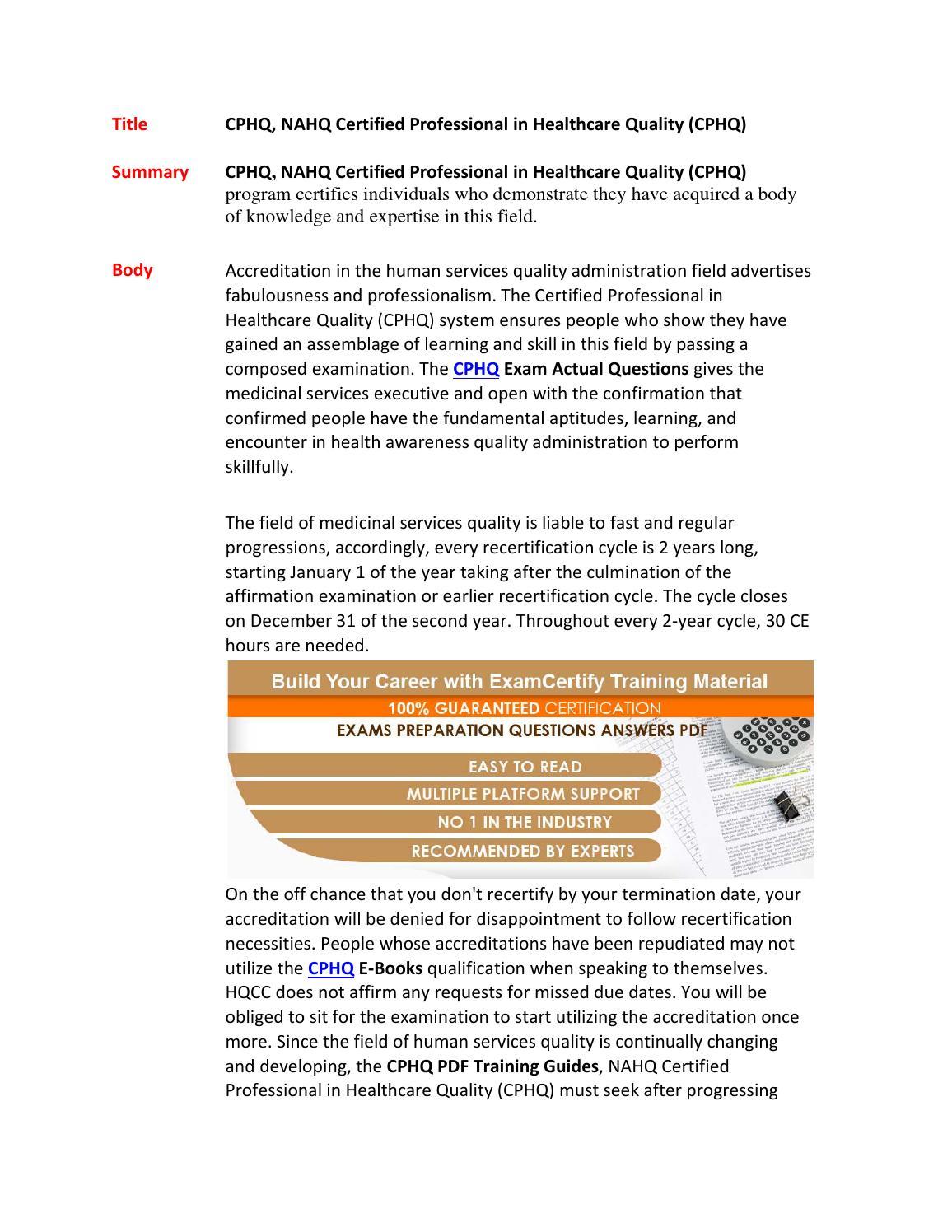 Cphq pdf download exam by ExamCertify2 - issuu
