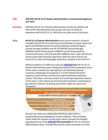 Hp0 p20 preparation material