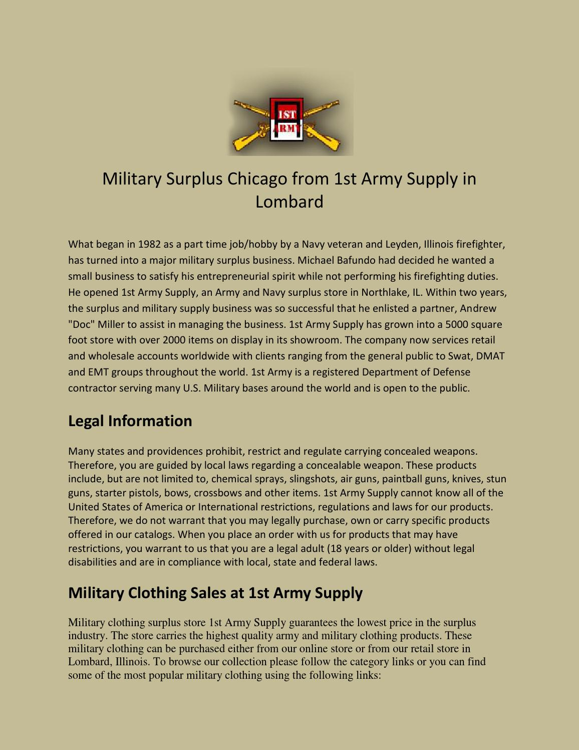 Military surplus chicago from 1st army supply in lombard by Army