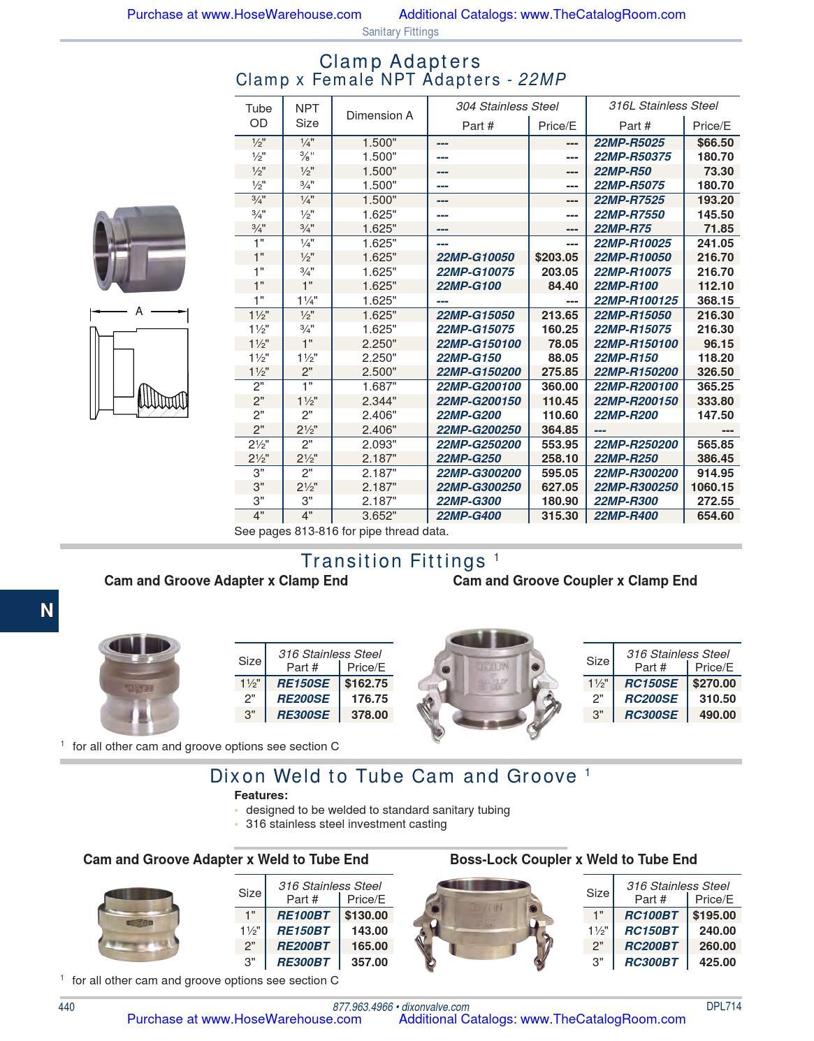 Dixon 22MP-R100125 1 x 1.25 316L Clamp x Female NPT Adapter