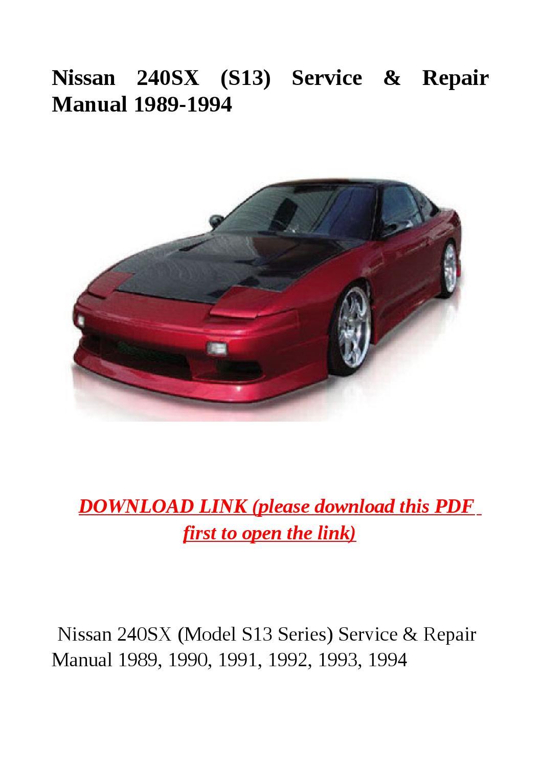 s13 service manual manual guide example 2018 u2022 rh bagelpantry com 1990 240Sx Interior 1995 240Sx