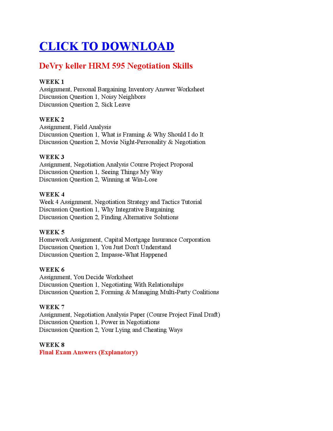 Worksheets Negotiation Worksheet devry keller hrm 595 negotiation skills by oassignmnents issuu