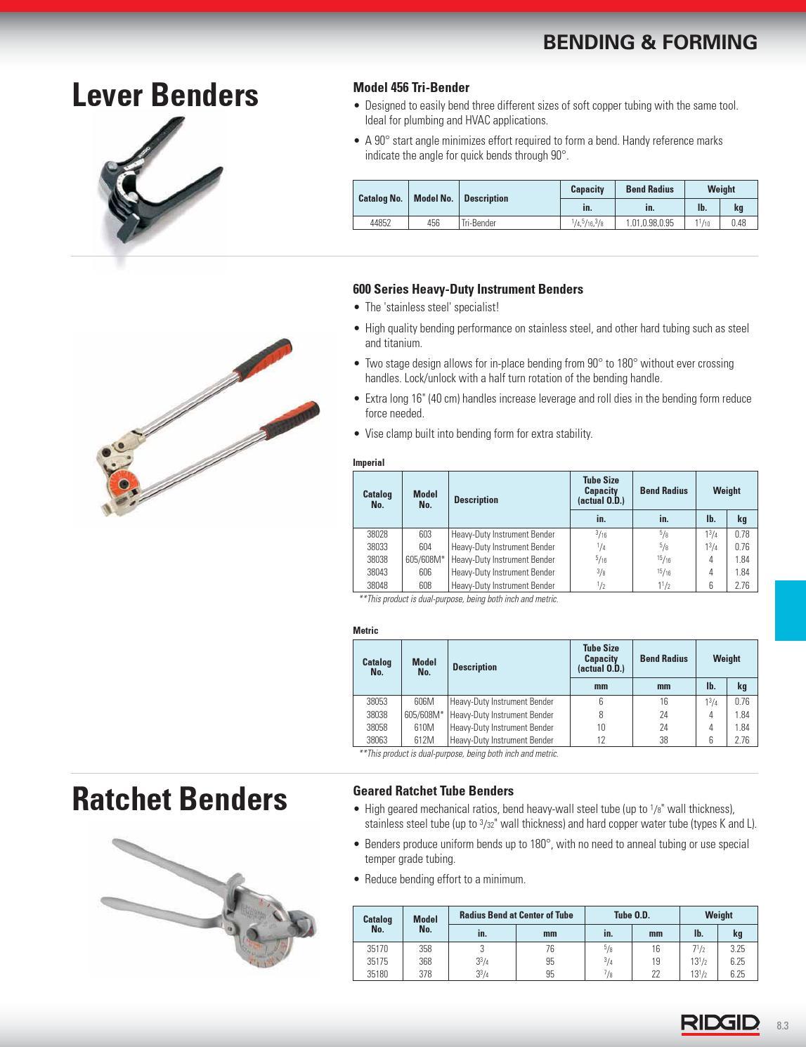 RIDGID 38048 Model 608 Heavy-Duty Pipe Bender 1//2-inch Tubing Bender