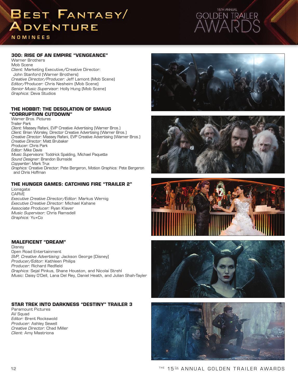 15th Annual Golden Trailer Awards Program Book 2014 By Trailer
