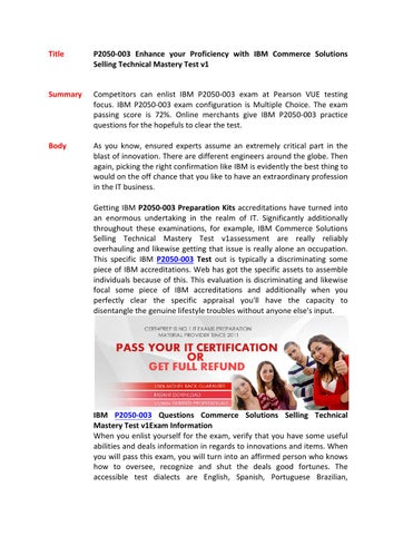 P2050 003 practice questions by Cert4Prep2 - issuu