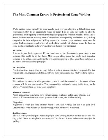Business Essays Samples Page  The Most Common Errors In Professional Essay Writing How To Write A Thesis Essay also English Essay About Environment The Most Common Errors In Professional Essay Writing By Joeswinn  Issuu English Sample Essay