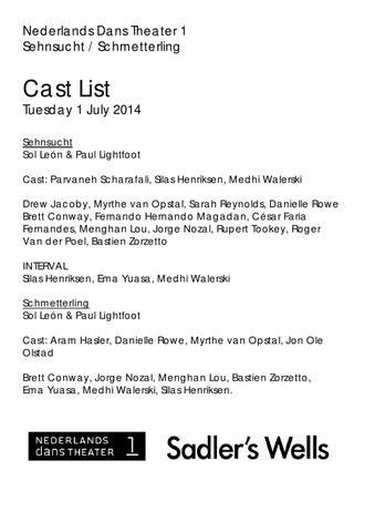 Ndt 1 cast list tuesday pdf by Sadler's Wells Development