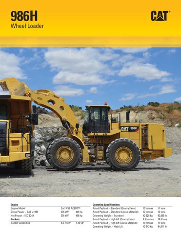 Cat 986h wheel loader specifications by Renderlive - issuu