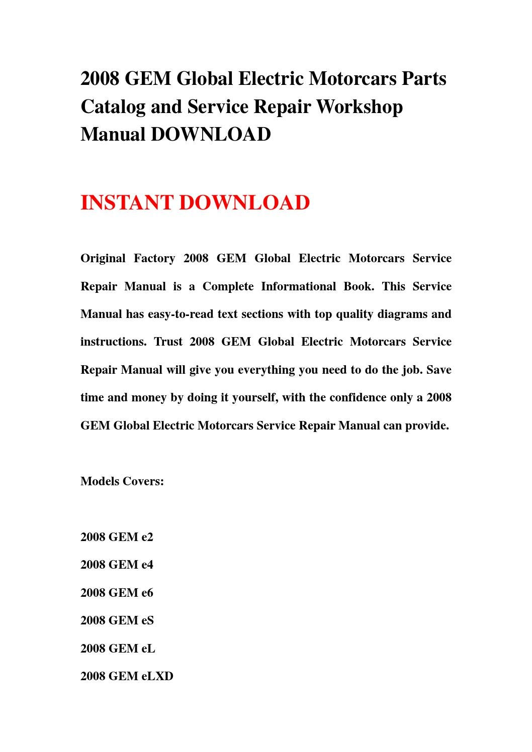 Gem E2 Wiring Diagram For 2008 Library Car Schematic Global Electric Motorcars Parts Catalog And Service Repair Workshop Manual Download By Jhhsenfnn