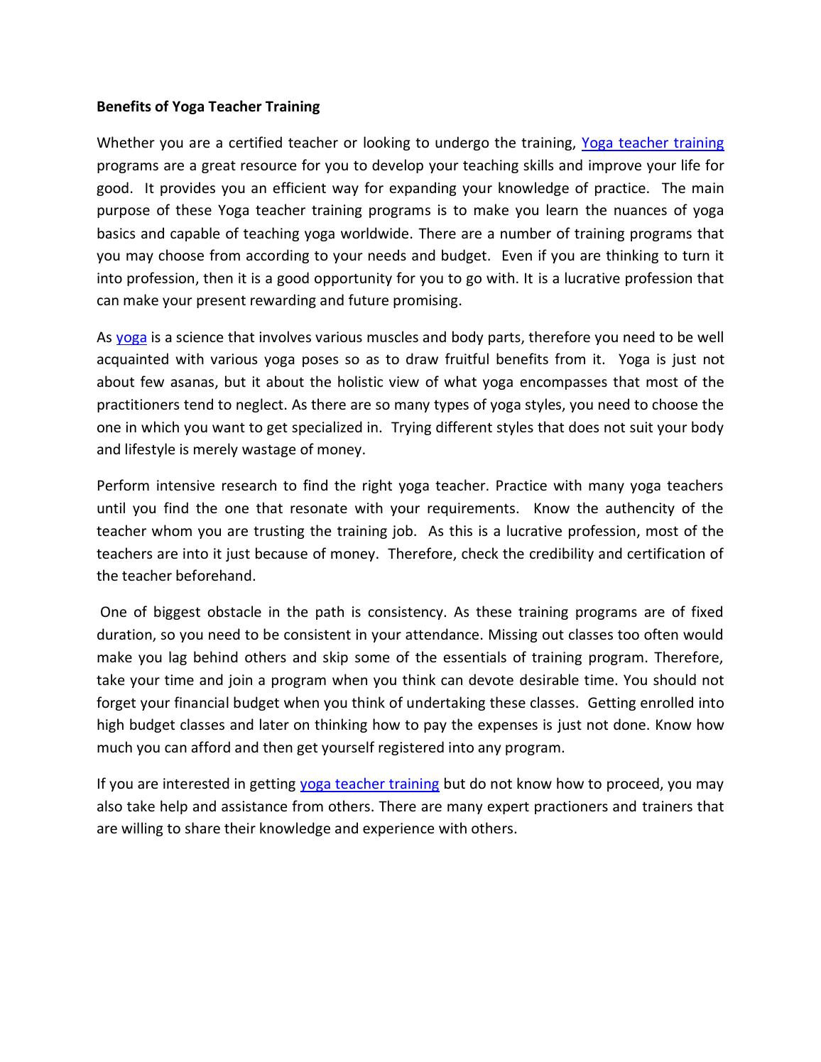 Benefits of yoga teacher training by robert smith - issuu