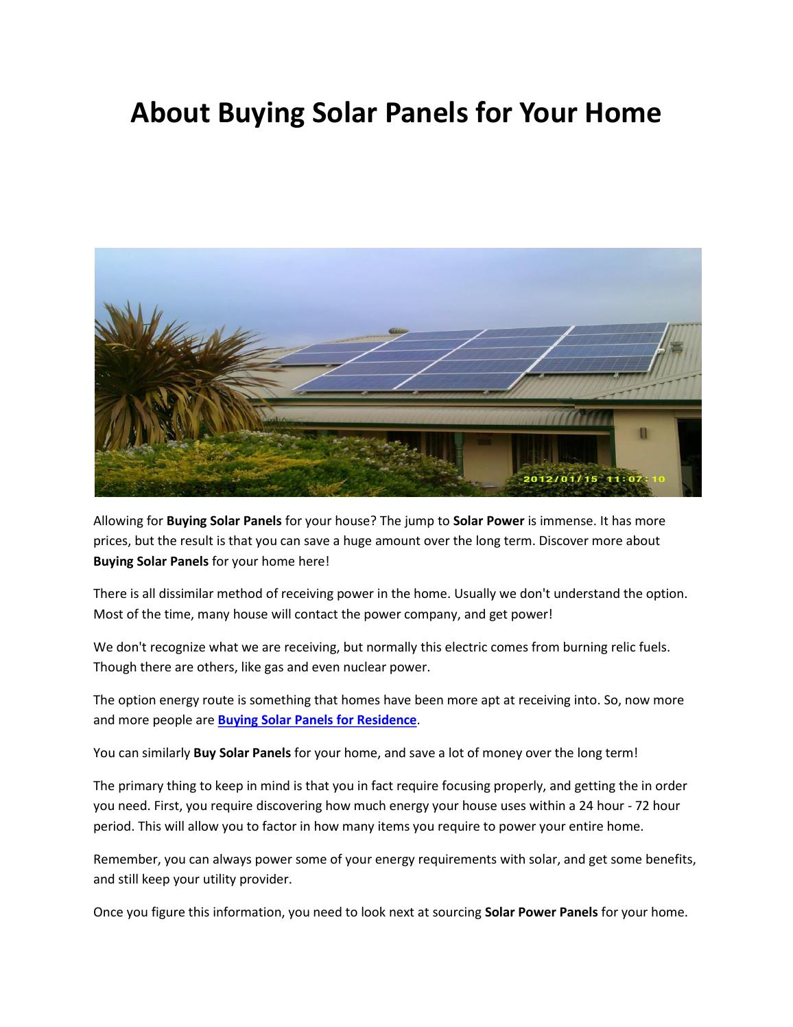 Solar Panels For Your Home >> About Buying Solar Panels For Your Home By Fortunesolar Issuu
