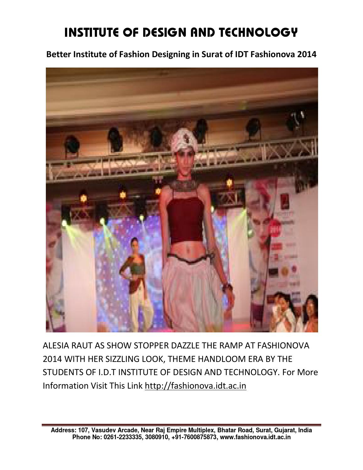 Better Institute Of Fashion Designing In Surat Of Idt Fashionova 2014 By Idt Institute Issuu
