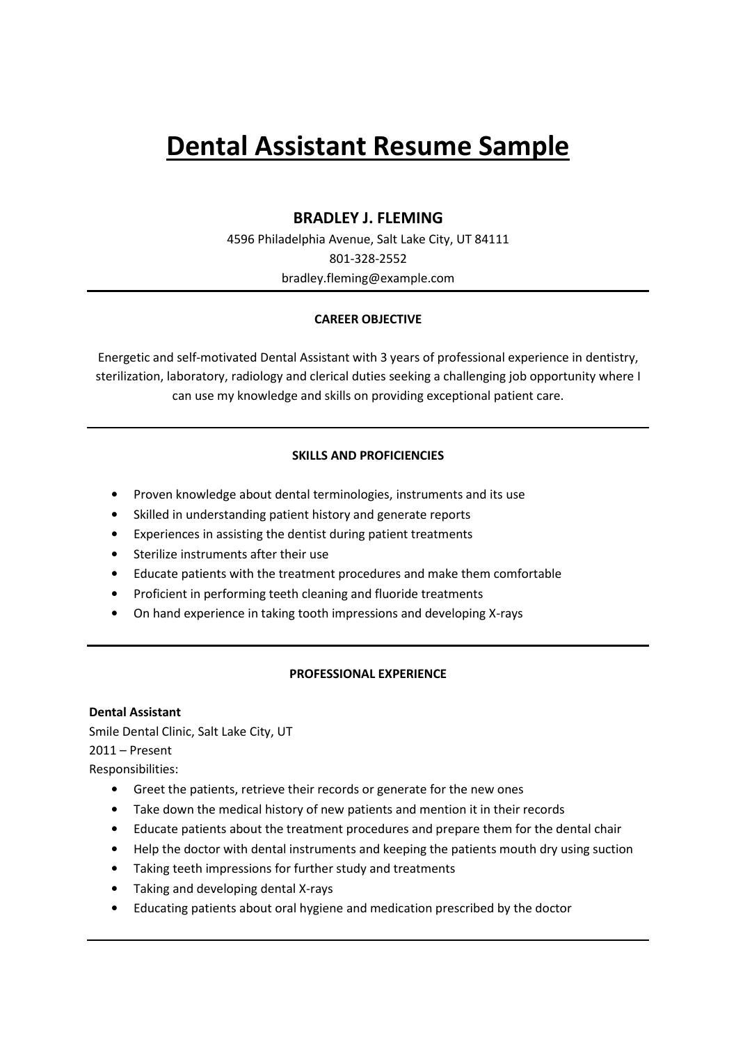Dental Assistant Resume Sample By Mark Stone Issuu