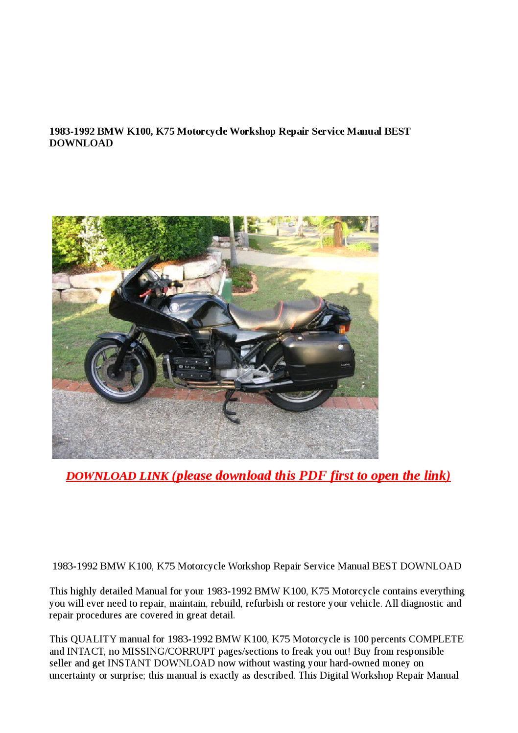 1983 1992 Bmw K100 K75 Motorcycle Workshop Repair Service border=