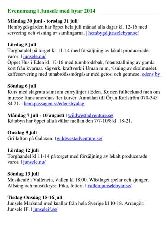 Junsele Karta Sverige.Evenemang I Junsele Med Byar 2014 By Gulsele Byalag Issuu