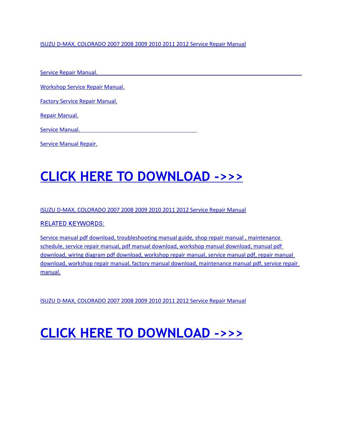 Isuzu d max, colorado 2007 2008 2009 2010 2011 2012 service repair manual  by miha - issuu