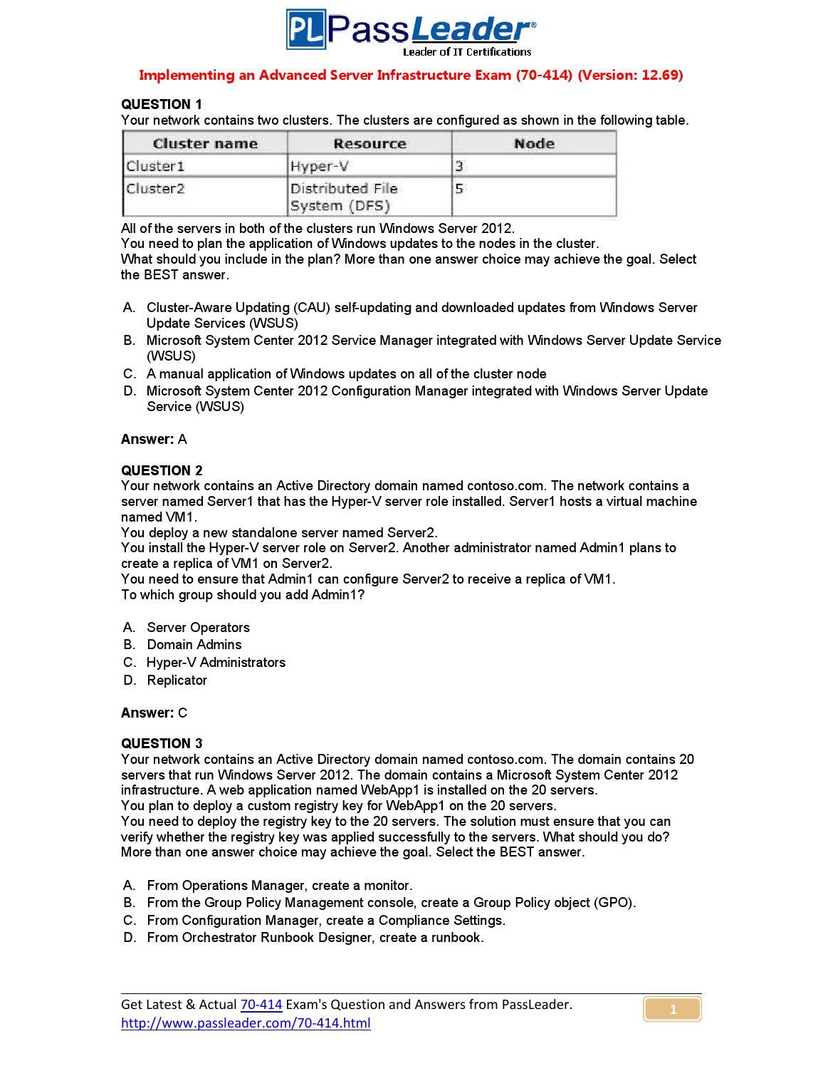 70-414 Update Premium PDF Brain Dumps (1-20) by ubliing - issuu