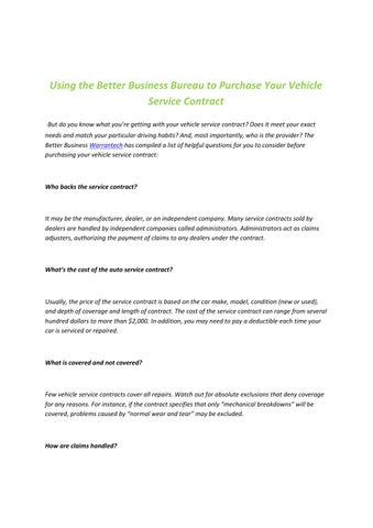 Using The Better Business Bureau To Purchase Your Vehicle Service