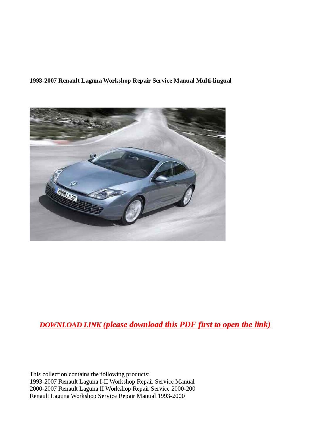 1993 2007 renault laguna workshop repair service manual multi lingual by  Cindy Tinh - issuu